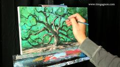 Angel Oak an acrylic time lapse landscape painting with Tim Gagnon Painting Videos, Painting Lessons, Painting Techniques, Art Lessons, Foreground Middleground Background, Trees Drawing Tutorial, Watercolor Landscape Tutorial, Angel Oak Trees, Online Lessons