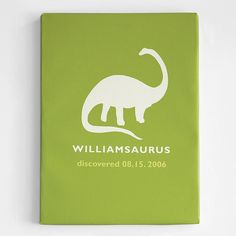 """Personalized Dinosaur Wall Art.  Silhouetted Brontosaurus artwork personalized with birth date & their name ending in """"saurus""""."""