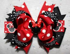 Minnie Mouse Hair Bow Minnie Mouse Inspired by CrazyBoutBows, $5.99 Disney Outfits, Disney Clothes, Fancy Bows, Boutique Bows, Girls Bows, Disney Trips, First Birthdays, Hair Bows, Headbands