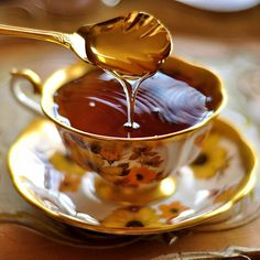 Tea with honey...fixed many cups of this for my Mom while she was ill.