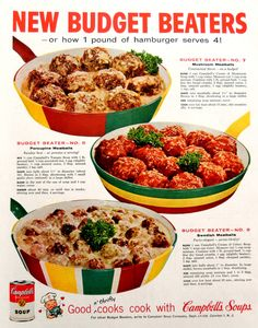 Campbell's Kids New Budget Beater Recipes 1959 Ad Picture Retro Recipes, Old Recipes, Vintage Recipes, Cookbook Recipes, Dinner Recipes, Cooking Recipes, Recipies, Vintage Cooking, Vintage Food