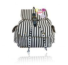 De Harlem Bag by Anna Smith in Zwart en Wit gestreept - Rugzak