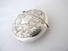 Large round Edwardian  silver vesta case, Smith & Bartlam  Birmingham 1904 in Antiques, Silver, Solid Silver, Cigarette/ Vesta Cases   eBay