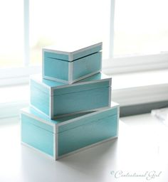 Tutorial to make faux lacquered nesting boxes. My local dollar store has cheap wooden boxes that would be perfect for this.
