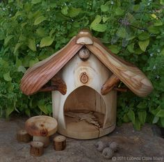 Large Gnome home with table & stools by willodel on Etsy