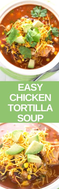 This easy to make tortilla soup is made with a handful of ingredients that you already have in your kitchen! I based this recipe on my favorite NYC Mexican restaurant - now I can make it healthy at home! Healthy Soup Recipes, Chili Recipes, Mexican Food Recipes, Dinner Recipes, Eid Recipes, Recipies, Quick Recipes, Authentic Chicken Tortilla Soup, Chowder Recipes