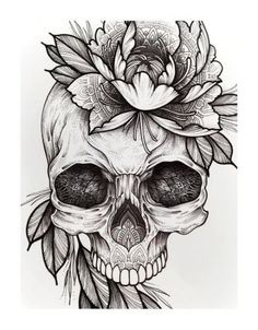 Cool Skull Tattoos For Women – My hair and beauty Tattoo Pink, 1 Tattoo, Mandala Tattoo, Body Art Tattoos, Sleeve Tattoos, Skull Tattoo Flowers, Flower Tat, Flower Outline, Design Your Tattoo