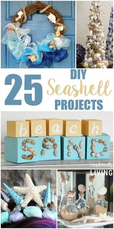 25 DIY Seashell Projects, Seashell Decor, Beach Decor Ideas, Ways to use Seashells, Seashell Crafts Beach Themed Crafts, Ocean Crafts, Beach Crafts, Seashell Art, Seashell Crafts, Seashell Garland, Shell Wreath, Mermaid Crafts, Starfish