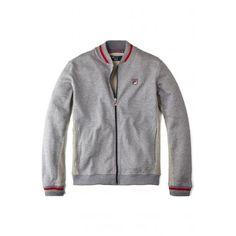 Fila Torello Navy Grey Striped Collar And Cuffs Tracktop Track Jacket.