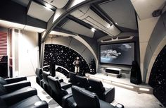 13 geek caves where fans can live out their nerdiest dreams | DVICE Home Theater Setup, Home Theater Rooms, Home Theater Design, Home Theater Seating, Movie Theater, Cinema Room, Casa Kardashian, Installation Home Cinema, Gameroom Ideas
