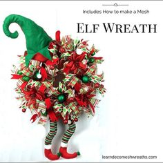 Included, video showing you step-by-step how I make this precious deco mesh Christmas Elf Wreath with the purchase of my ebook, www.learndecomeshwreaths.com I use this same technique with my Halloween Witch Hat wreaths.