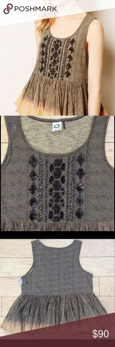 NWT Women's Anthropologie Tank SZ L Akemi + Kin Sold out!!! NEW WITH TAGS// Akemi + Kin from Anthropologie Sequined Peplum top Anthropologie Tops Tank Tops