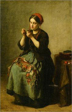Breton_Jules_Peasant_Woman_Threading_a_Needle_1861