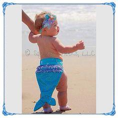 Baby Mermaid Photo Props - Baby Barefoot Sandals Headband Set by BabySquishyCheeks