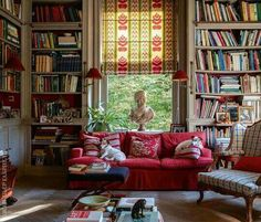 When is a room warm-Hearted? When it has a little red, lots of books & a dog on the sofa.