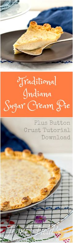 Indiana Sugar Cream Pie, the state pie of Indiana, is easy to make and tastes of pure sweetened cream and nutmeg. If this sounds like your thing, you'll want to make this pie recipe, stat! Sugar Cream Pie Recipe, Cream Pie Recipes, Tart Recipes, Best Dessert Recipes, Easy Desserts, Delicious Desserts, Cooking Recipes, Yummy Food, Raspberry Cream Pies