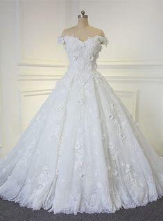Amazing Beautiful Flowers Handmade Wedding Dress With Off The Shoulder Straps Bridal Dress