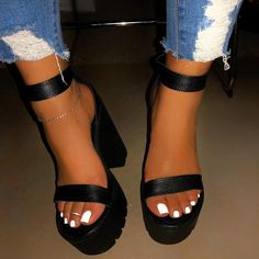 Click the pict for detail 2019 Sexy Classic High Heels Women's Sandals Summer Shoes Ladies Strappy Pumps Platform Heels Woman Ankle Strap Shoes, Strap Heels, Strap Sandals, Bohemian Sandals, Chunky High Heels, Chunky Platform Heels, Black Platform Boots, Chunky Sandals, Womens High Heels