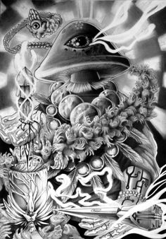 Psychedelic Mushroom Cloud, Psychedelic Drugs, Third Eye, Anime Style, Trippy, Dream Land, Clouds, Statue, Black And White