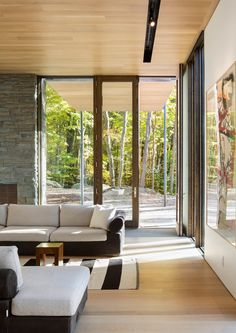 Pound Ridge House by KieranTimberlake is nestled in a rocky outcrop outside New York City
