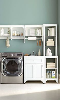 Doing laundry isn't a chore when your laundry room is organized, functional, and beautiful! Martha Stewart Living is available at @homedecorators.