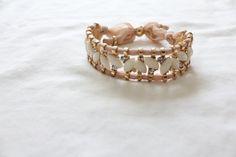 Cream/Pearl Fabric Bracelet by LittleCocosBoutique on Etsy, $14.99