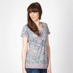 Mantaray Pale grey stencil flower t-shirt- at Debenhams.com