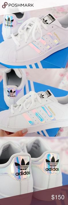 Holographic adidas superstar Never worn. Just purchased. Debating on selling because they're so unique! ✨ Adidas Shoes Sneakers - womens shoes size 5, womens shoes size 11, womens shoes uk