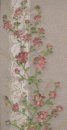 I  embroidery . . . Silk Ribbon Embroidery over lace