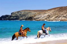 Horseback Riding in Mykonos! Mykonos Island Greece, Greece Islands, Santorini Greece, Greece Tourism, Greece Travel, Greece Girl, Greek Sea, Santorini Travel, Greece Holiday