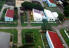 Aerial view of the Martin-de-Viviès base's buildings on Amsterdam Island (click on image to enlarge)