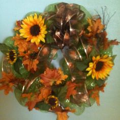 Poly mesh ribbon wreath. Fall