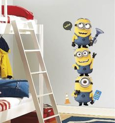 Includes giant Minion wall decals each measuring H x W. Also includes 8 bonus decals! Despicable Me 2 Minions Wall Decal Disney Wall Decals, Kids Room Wall Decals, Minion Bedroom, Kids Bedroom, Minion Nursery, Bedroom Ideas, Room Kids, Bedroom Wall, Kids Rooms