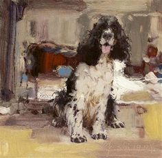 """Daily Paintworks - """"Dog series"""" - Original Fine Art for Sale - © fengshi jin Impressionist Paintings, Impressionism, Photo Pattern, Fine Art Auctions, Fine Art Gallery, Animal Paintings, Dog Art, Beautiful Paintings, Art For Sale"""