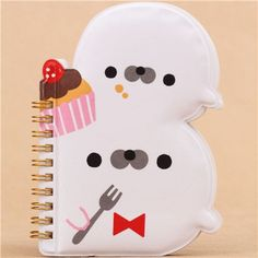 cute white felt seal ring binder notebook and sticker album from Japan 1