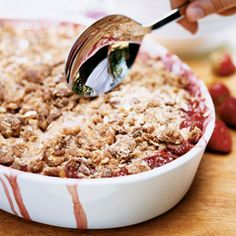 Strawberry-Rhubarb Crisp | This one's for you Becky!  I usually only use 1 c of flour and 1/2 c of butter for the topping as well as use old fashioned oats if you don't have granola!