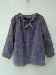 MARINA RINALDI Max Mara Lovely Lavender Suede Zip Front Jacket Size 16W 25  #MarinaRinaldi #BasicJacket