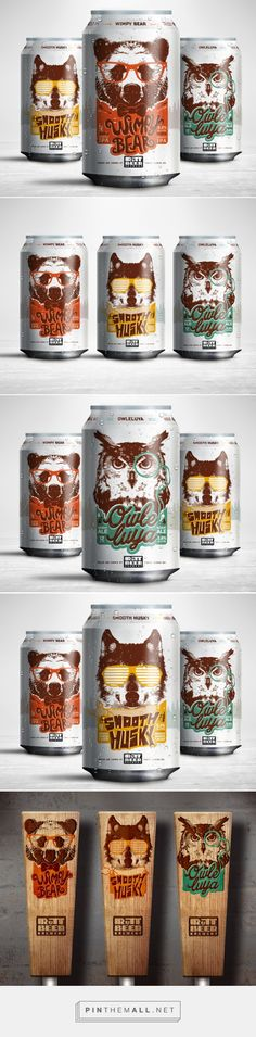 Rutt Beer Brewery - The complexity of the animal illustrations is complemented well by the playful typography and simple colour palettes, which hold the designs together. All of these elements together make me think they'd appeal to a mass audience. Beverage Packaging, Bottle Packaging, Brand Packaging, Design Packaging, Coffee Packaging, Food Packaging, Craft Beer Brands, Craft Beer Labels, Wine Labels