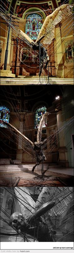 """Graphic Art: Sculpture - Lucifer (Morning Star)"""" is an installation by Paul Fryer installed at the Holy Church in Marylebone (London), depicting a wax Lucifer suspended by high-power lines. Land Art, Sculpture Art, Sculptures, Ange Demon, Les Religions, Heaven And Hell, Morning Star, Westminster, Macabre"""