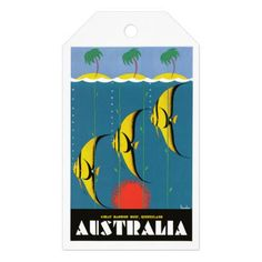 1930's Australia Great Barrier Reef Travel Poster Gift Tags - vintage gifts retro ideas cyo