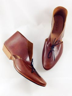 The Alley COT ~ Handmade Custom ~ CHESTNUT BROWN Leather ~ cutout bootie ~ womens shoe ~ petite and large sizes available