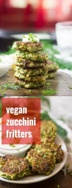 These vegan zucchini fritters are seasoned up with garlic, dill and a hint of cumin, pan-fried to a crisp, and served with silky cashew cream and a sprinkling of fresh chives.