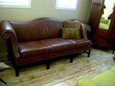 Vintage Camel Back Leather Sofa By Schafer Bros