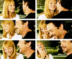 "Gwyneth Paltrow and Robert Downey Jr. cracking up while filming their kissing scene in ""Avengers."""