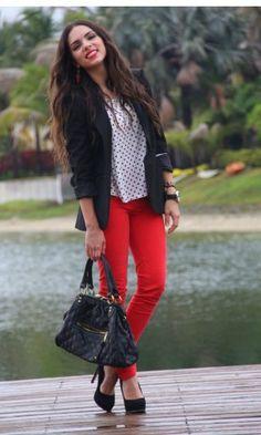 red jeans, white shirt, black blazer