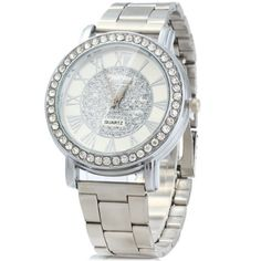 Main Features: • Diamond bezel, luxurious and shiny, makes you more charming • Classic Roman numerals scales, show its unique style • Stainless steel case and band, sturdy in structure and uneasy to scrape • Folding clasp with safety, easy to take on and off