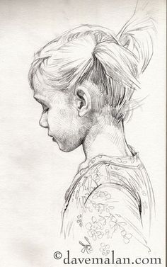 pencil sketch - side profile child