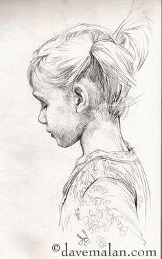pencil sketch - side profile child