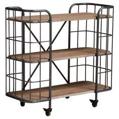 Stoer metalen bakkersrek op wieltjes met houten planken. Kleur: zwart. Afmeting: 94x41x89 cm (lxbxh). #kwantumstijl
