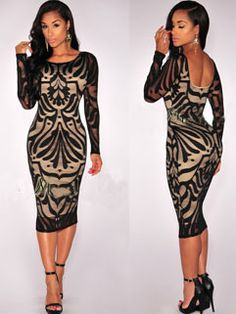 Nightclub Style Long Sleeve Abstract Printing Bodycon Dress  http://www.justleds.co.za
